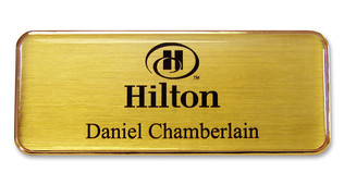 Metal Name Badges - Gold border and brushed gold background | www.namebadgesinternational.ca